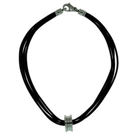 Bulgari B.zero 1 18K White Gold Multi Strand Black Leather Choker Necklace & Ring