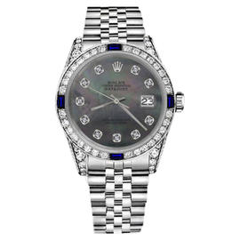 Rolex Datejust Stainless Steel & Black Mother Of Pearl Diamond Dial 31mm Unisex Watch