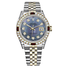 Rolex Datejust Stainless Steel/ 18K Gold Tahitian Dial Ruby Diamond Womens 36mm Watch
