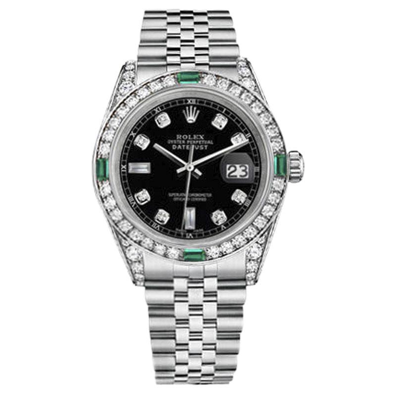 "Image of ""Rolex Datejust Steel Black Emerald Diamond Dial 26mm Womens Watch"""