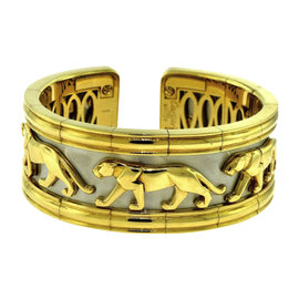 Cartier 18K Yellow and White Gold Walking Panther Pharaon Wide Flexible Cuff