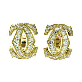Cartier 18K Yellow Gold Signature Double C Diamond Earrings
