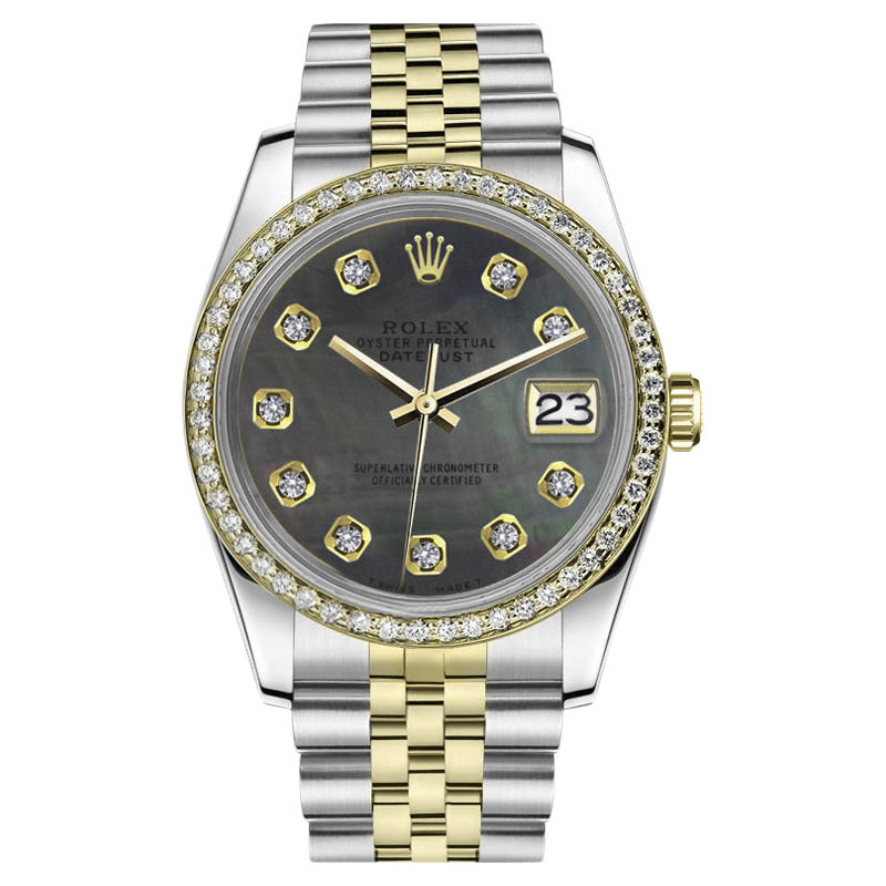 """Image of """"Rolex Datejust Stainless Steel/ 18K Gold with Black Mother of Pearl"""""""