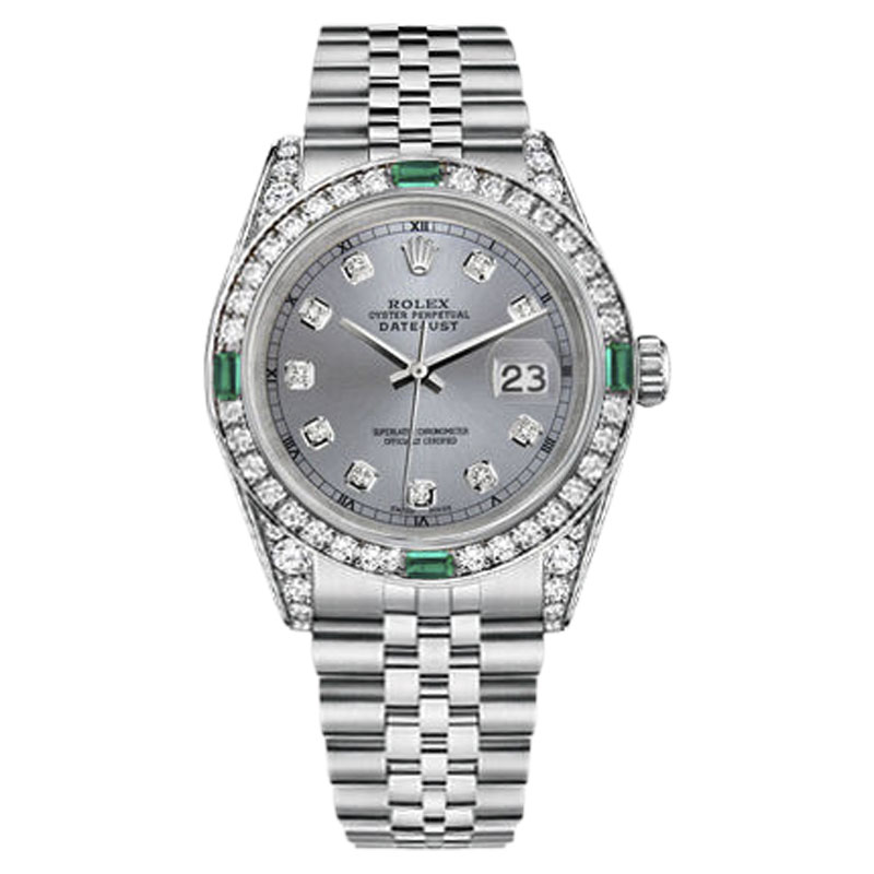 """Image of """"Rolex Datejust Stainless Steel & Grey Diamond Dial 36mm Womens Watch"""""""