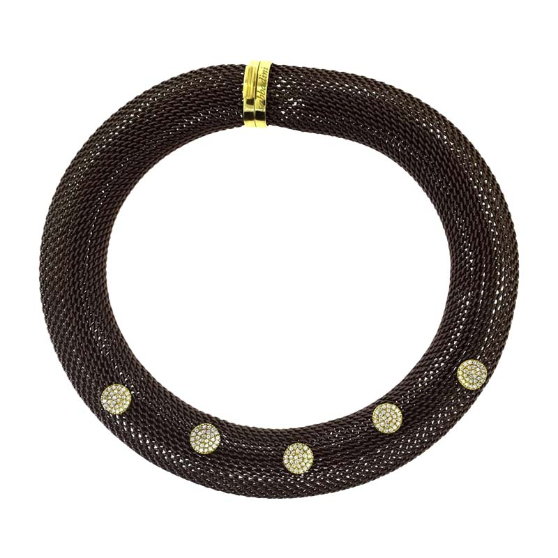 "Image of ""Sabbadini 18K Yellow Gold & Brown Mesh Copper Choker Necklace"""