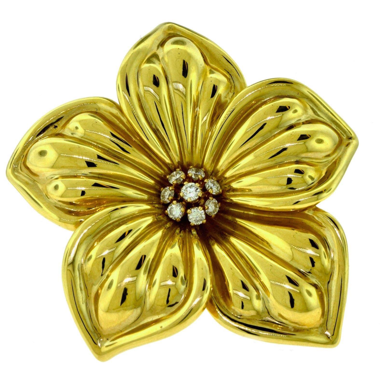 "Image of ""Van Cleef & Arpels 18K Yellow Gold Magnolia Brooch"""