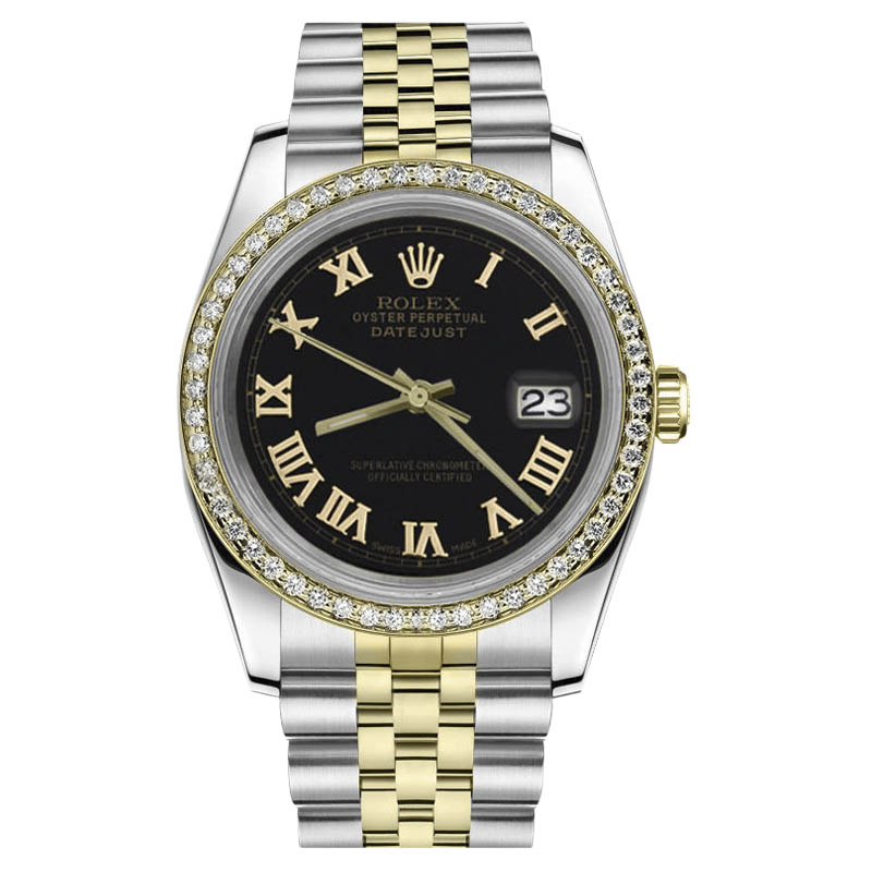 "Image of ""Rolex Datejust Stainless Steel & 18K Gold with Black Dial 31mm Womens"""