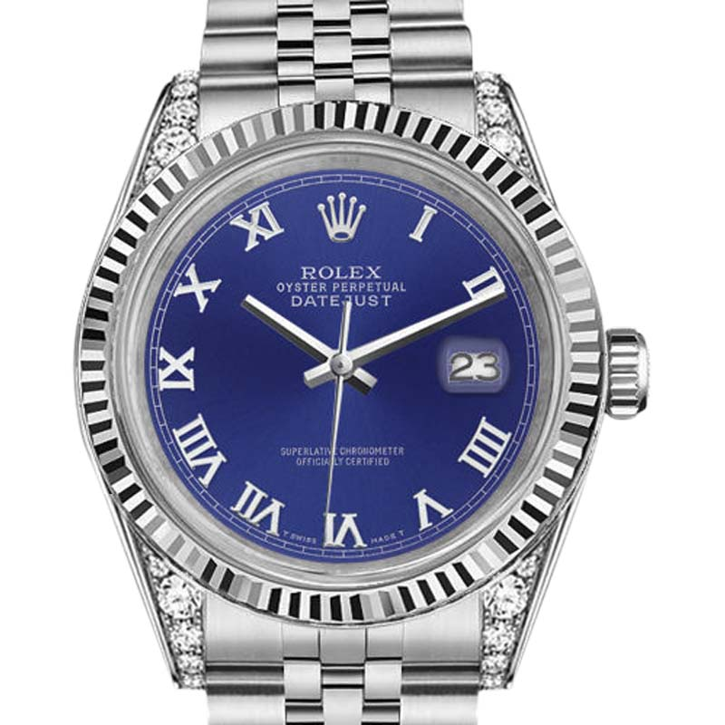 "Image of ""Rolex Datejust Stainless Steel Blue Silver Roman Numeral 18K White"""