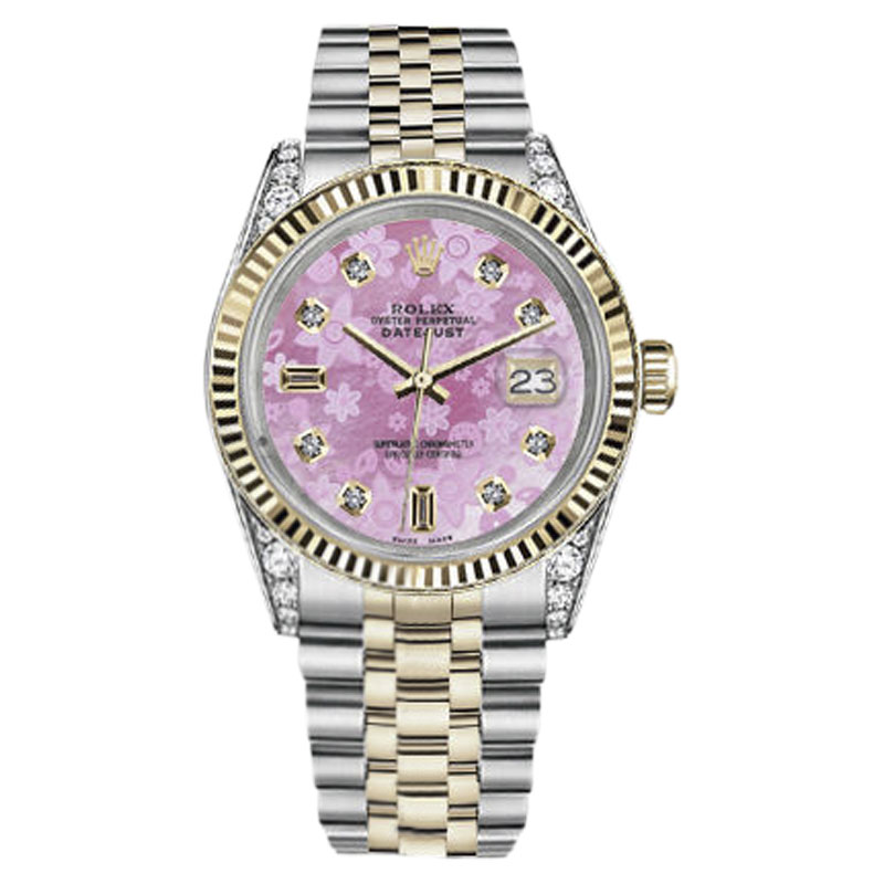 """Image of """"Rolex Datejust 18K Yellow Gold & Stainless Steel Pink Flower Mother of"""""""