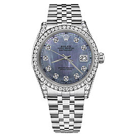 Rolex Datejust Stainless Steel/18K White Gold Tahitian Mother of Pearl Dial wDiamonds 36mm Unisex Watch