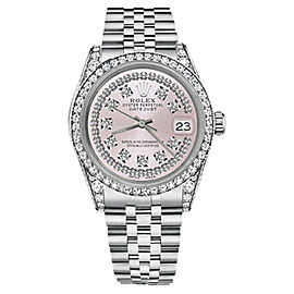 Rolex Datejust Stainless Steel Pink Dial wDiamonds 36mm Womens Watch