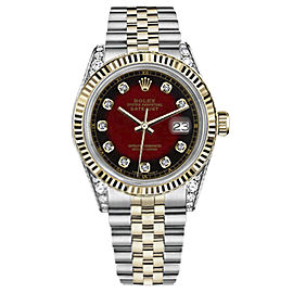 Rolex Datejust Stainless Steel/ 18K Gold Red Dial wDiamonds 36mm Unisex Watch