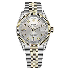 Rolex Datejust Stainless Steel/ 18K White Gold Silver Dial wDiamonds 36mm Unisex Watch