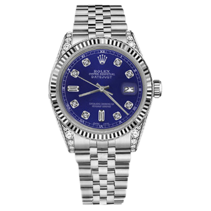 """Image of """"Rolex Datejust Stainless Steel Blue Dial wDiamonds 36mm Unisex Watch"""""""