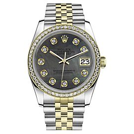 Rolex Datejust Stainless Steel/ 18K Gold Black Mother Of Pearl Dial wDiamonds 36mm Womens Watch