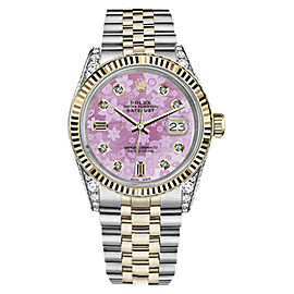 Rolex Datejust 2 Tone Pink Flower Mother of Pearl Dial 26mm Womens Watch