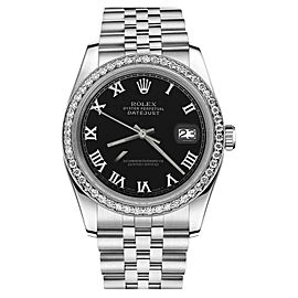 Rolex Datejust Stainless Steel Black Roman Numeral Dial 26mm Womens Watch