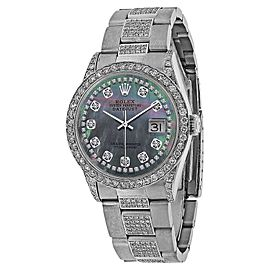 Rolex Datejust 16200 Stainless Steel with Black Mother of Pearl Dial 36mm Unisex Watch