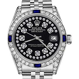 Rolex Datejust Glossy Black String Dial Sapphire & Diamond Bezel Accent 26mm Unisex Watch