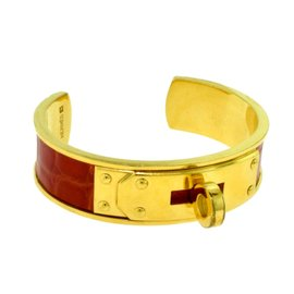 Hermes 18K Yellow Gold with Orange Alligator Skin Kelly Cuff