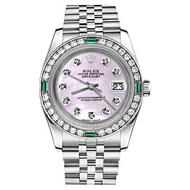 Rolex Datejust Stainless Steel Pink Mother Of Pearl Dial wEmerald & Diamond 36mm Womens Watch