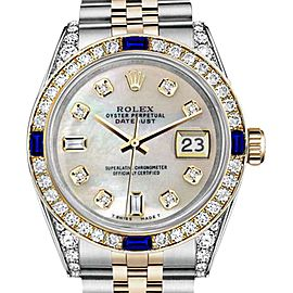 Rolex Datejust White Mother Of Pearl Dial with Sapphire & Diamond Bezel 26mm Unisex Watch