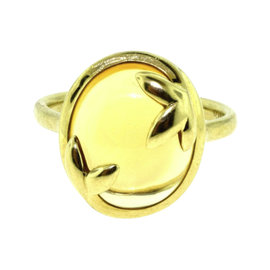 Tiffany & Co. Paloma Picasso Citrine Olive Leaf 18K Yellow Gold Ring Size 7