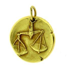 Van Cleef & Arpels 18K Yellow Gold Libra Zodiac Single Coin Pendant