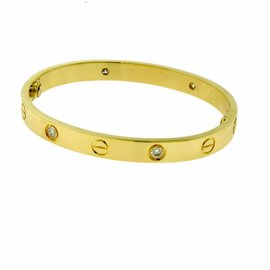 Cartier 18K Yellow Gold with 4 Diamonds Bracelet Size 16