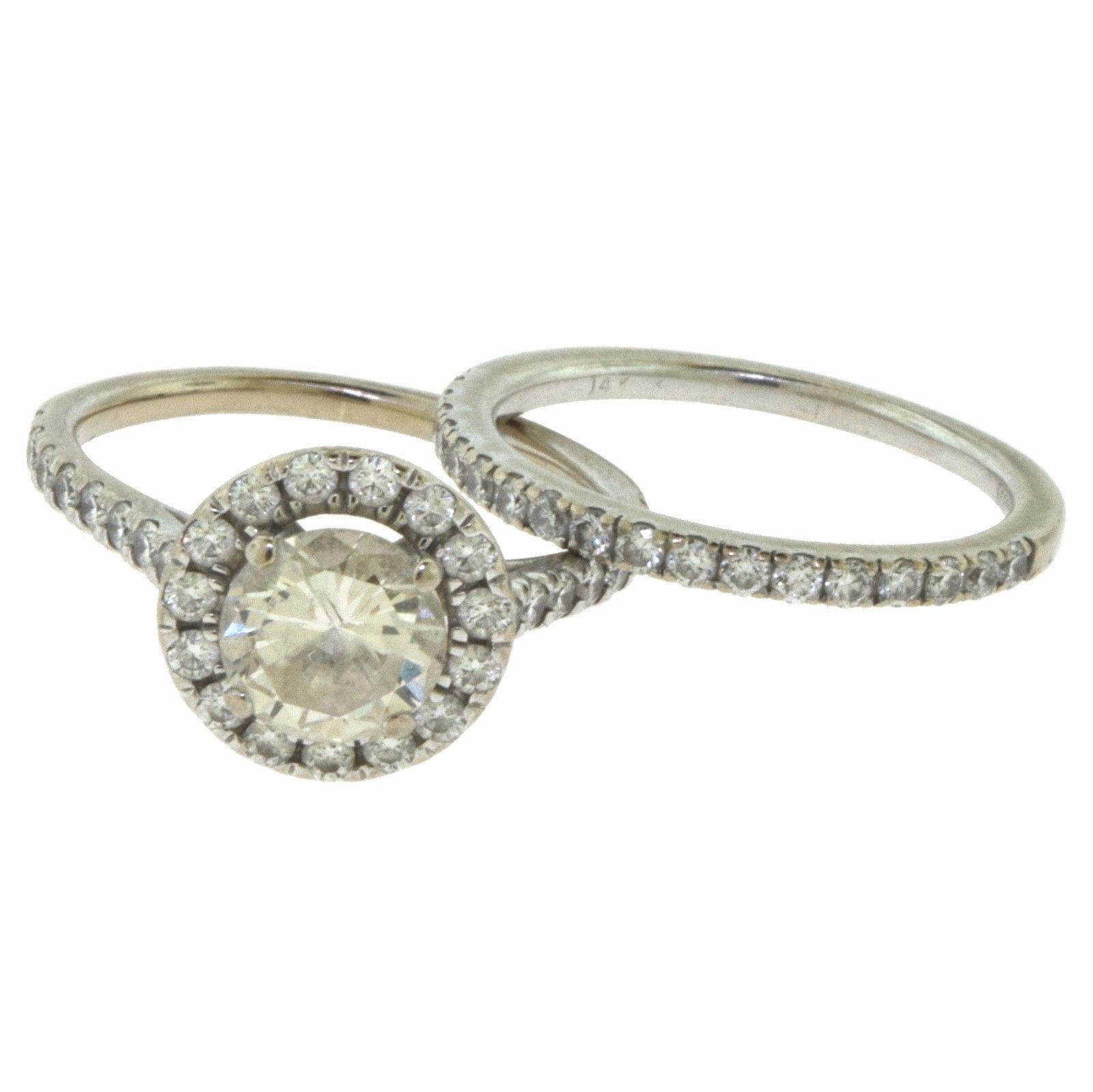 """Image of """"Scott Kay 14K White Gold Diamond Halo Engagement & Wedding Band Ring"""""""