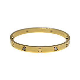 Cartier Love 18K Yellow Gold Diamond Bracelet Size 17