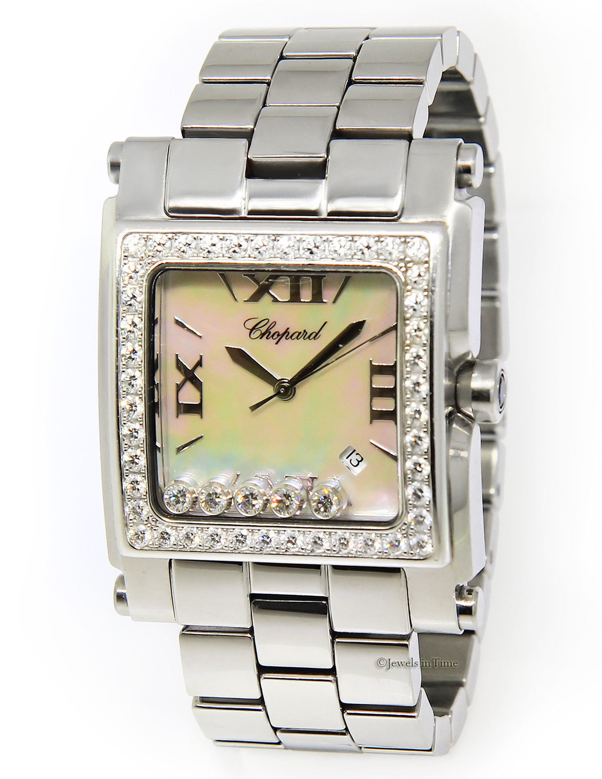 "Image of ""Chopard Happy Sport Square XL 28-8448/20 Stainless Steel Mother of"""