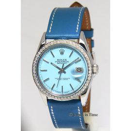 Rolex Datejust 1600 Stainless Steel / Leather with Blue Dial Automatic Vintage 36mm Mens Watch