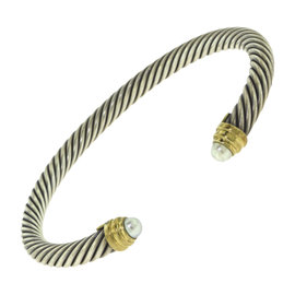 David Yurman Cable Classics Sterling Silver and 14K Yellow Gold with Pearl Bracelet