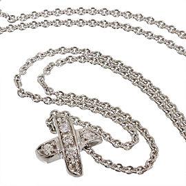 Tiffany & Co. Signature 18K White Gold & Diamonds Cross Pendant Necklace
