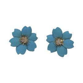 Van Cleef & Arpels Rose De Noel 18K Yellow Gold Diamond and Turquoise Vintage Clip On Earrings