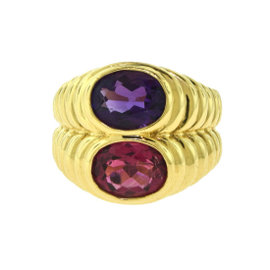 Bulgari 18K Yellow Gold Amethyst and Rubellite Vintage Ring Size 7.5