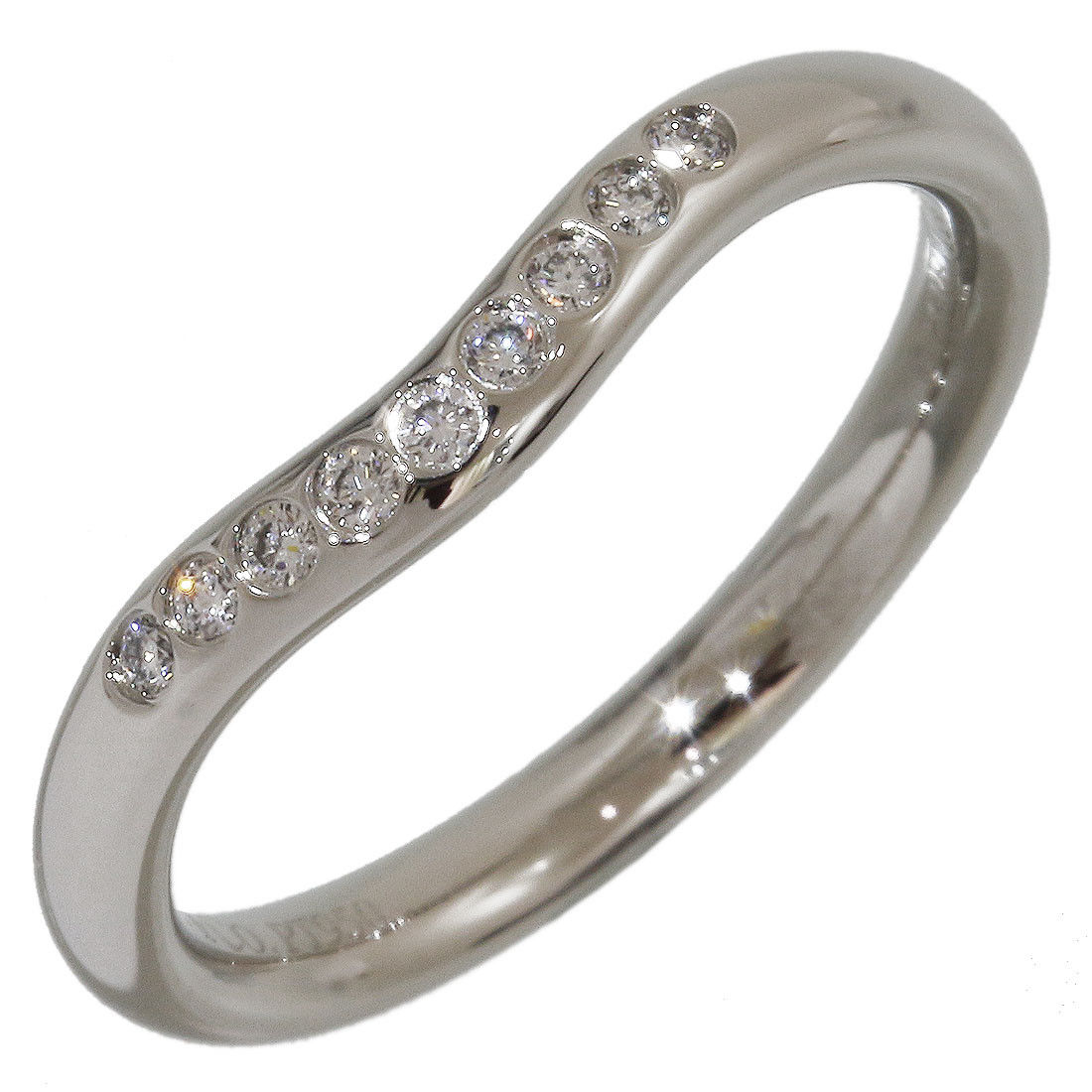 "Image of ""Tiffany 7 Co. Elsa Peretti 950 Platinum with 9P Diamond Curved Ring"""
