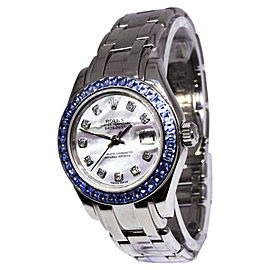 Rolex Pearlmaster 80309 18K White Gold Mother of Pearl Diamond Dial wSapphire Automatic 29mm Womens Watch