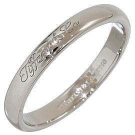 Tiffany & Co. Platinum Simple Wedding Logo Band Ring Size 8.5