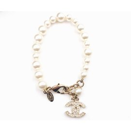 Chanel Gold Tone Hardware with Crystal with Faux Pearl CC Dangle Bracelet
