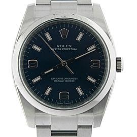 Rolex Oyster Perpetual 114200BLASO Blue Arabic Dial Domed Bezel Men's Watch