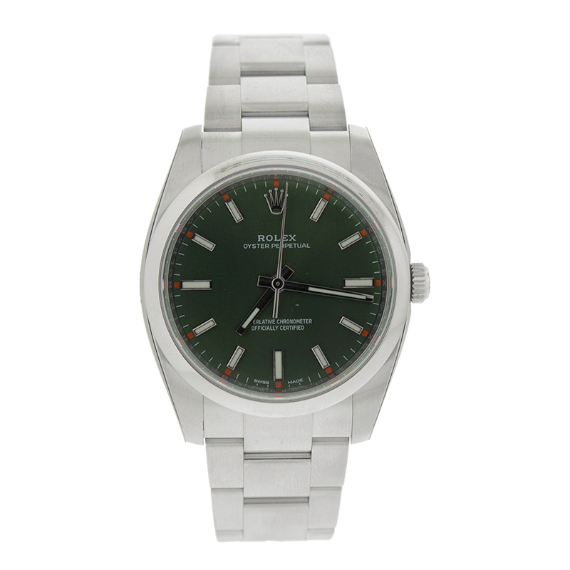 """Image of """"Rolex Oyster Perpetual 34 114200Gnso Green Olive Dial Stainless Steel"""""""