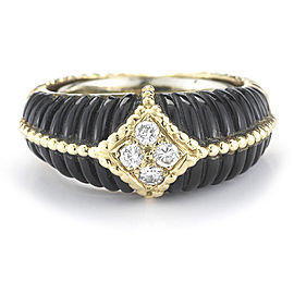 Van Cleef & Arpels Yellow Gold Diamond and Onyx Structured Band Ring