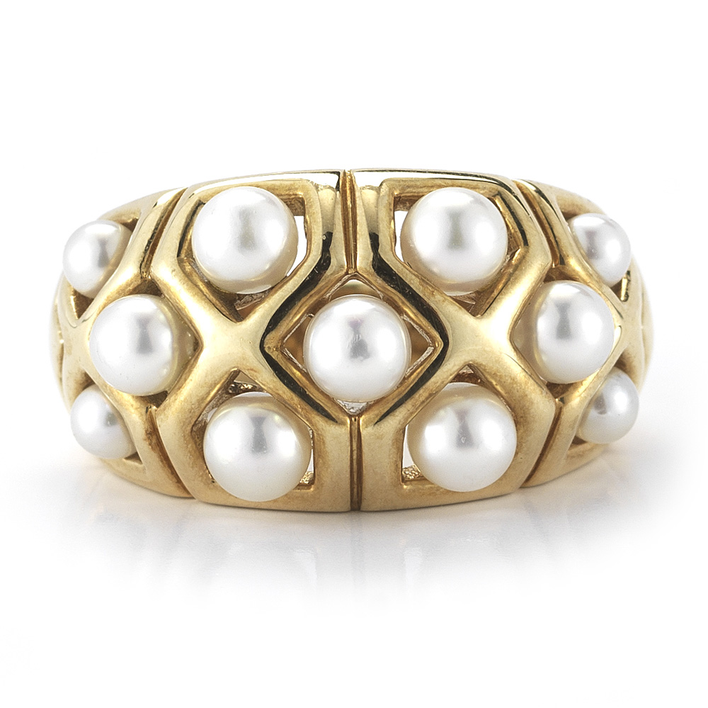 """Image of """"Van Cleef & Arpels Yellow Gold Small Pearls Band Ring"""""""