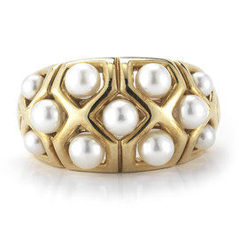 Van Cleef & Arpels Yellow Gold Small Pearls Band Ring