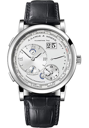 "Image of ""A. Lange and Sohne Large 1 116.039 18K White Gold Black Leather Silver"""