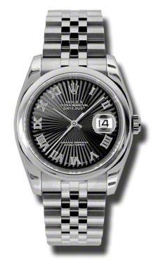 "Image of ""Rolex Datejust Steel Black Sunbeam Roman Dial 36mm Watch"""