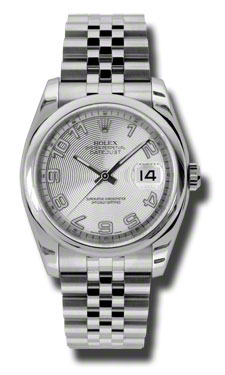 "Image of ""Rolex Datejust Steel Silver Concentric Arabic Dial 36mm 116200 Scaj"""