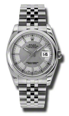 "Image of ""Rolex Datejust Steel Silver and Steel Stick Dial 36mm Watch"""